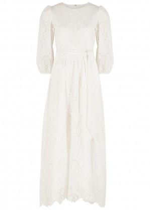 Borgo de Nor Constance white guipure lace maxi dress
