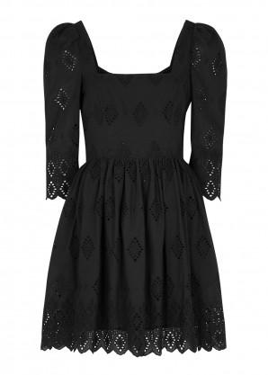 CARA CARA Hart black embroidered cotton mini dress