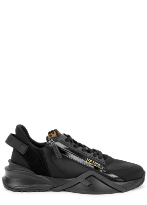 Fendi Flow black panelled mesh sneakers