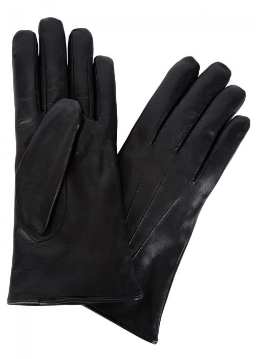 DENTS Black Fur-Lined Leather Gloves