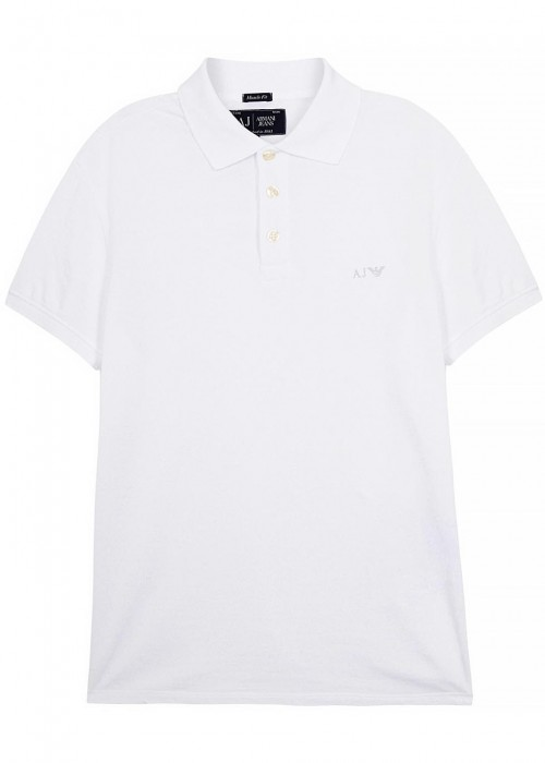 Armani Jeans  WHITE PIQUÉ COTTON POLO SHIRT