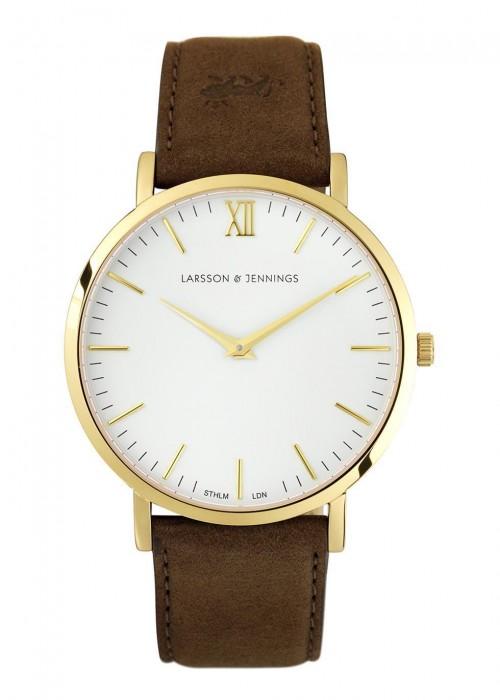 Läder Gold-Plated Watch, Brown