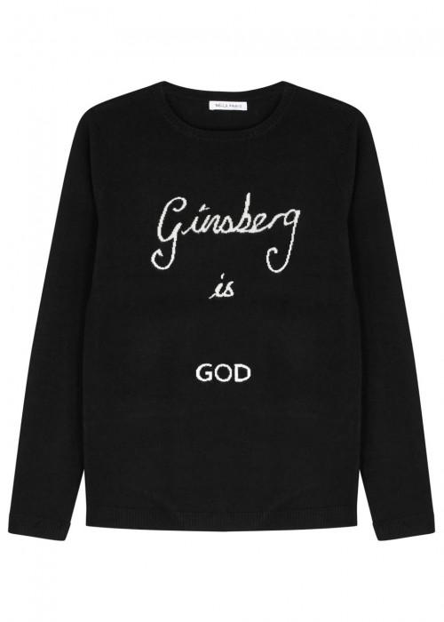 GINSBERG IS GOD BLACK WOOL JUMPER