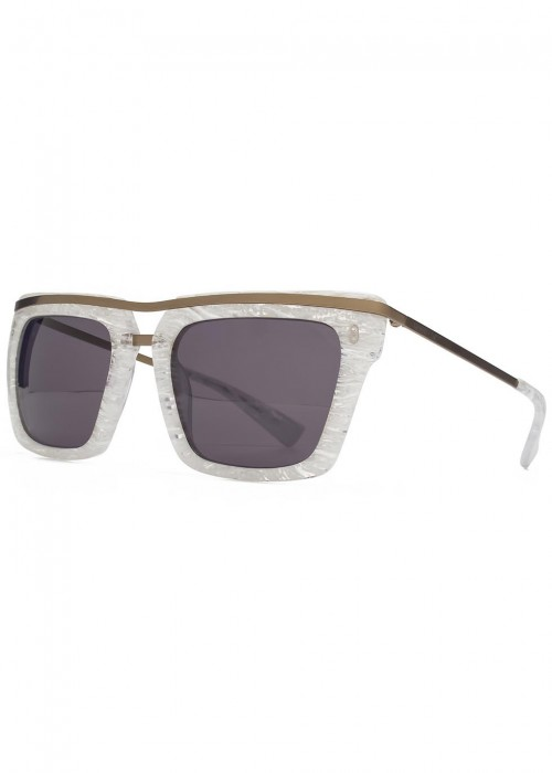 HOOK LDN Chambers Marbled D-Frame Sunglasses in White
