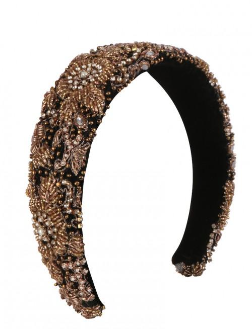 EMILY - LONDON Stirling Embellished Gold And Black Headband