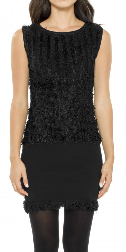 Leon Max  HIGH TWIST RAYON TEXTURAL KNITTED SLEEVELESS SWEATER DRESS