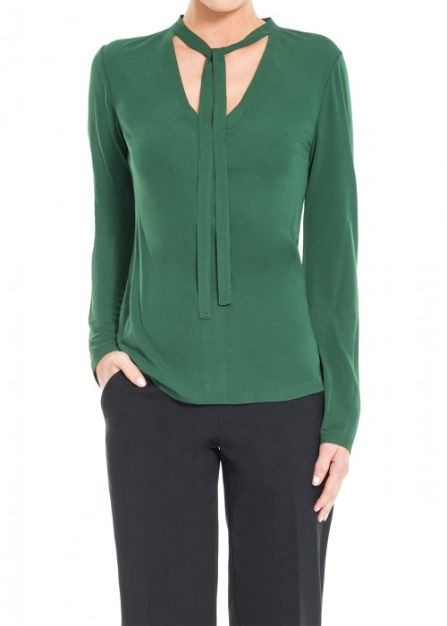 Leon Max  MATTE JERSEY LONG SLEEVED PULLOVER WITH TIE-NECK