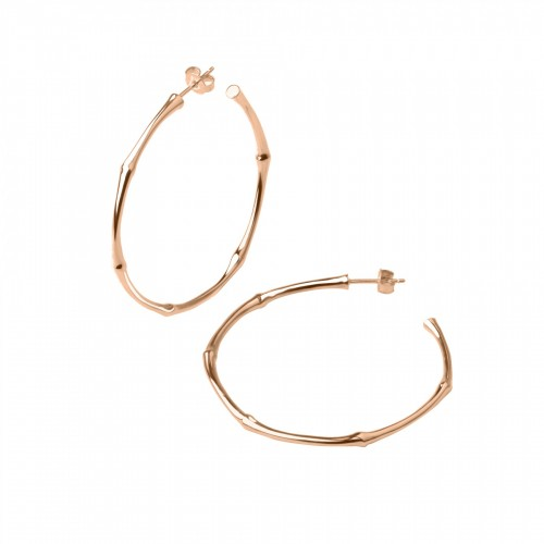 ROSE GOLD BAMBOO LARGE HOOPS