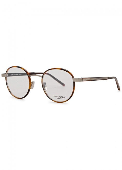 12ceacae17 Shop Saint Laurent Sl 125 Brown Round-Frame Optical Glasses