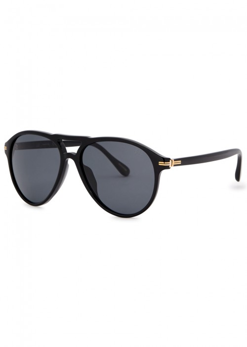 DUNHILL LONDON Black Aviator-Style Sunglasses