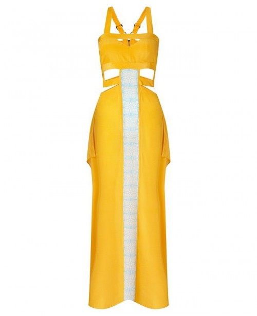 AYA SILK Citrine Maxi Dress