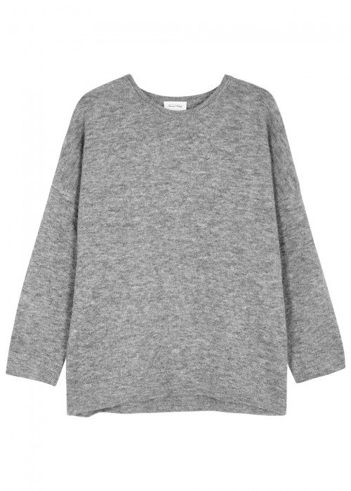 American Vintage WIXTONCHURCH GREY STRETCH-KNIT JUMPER