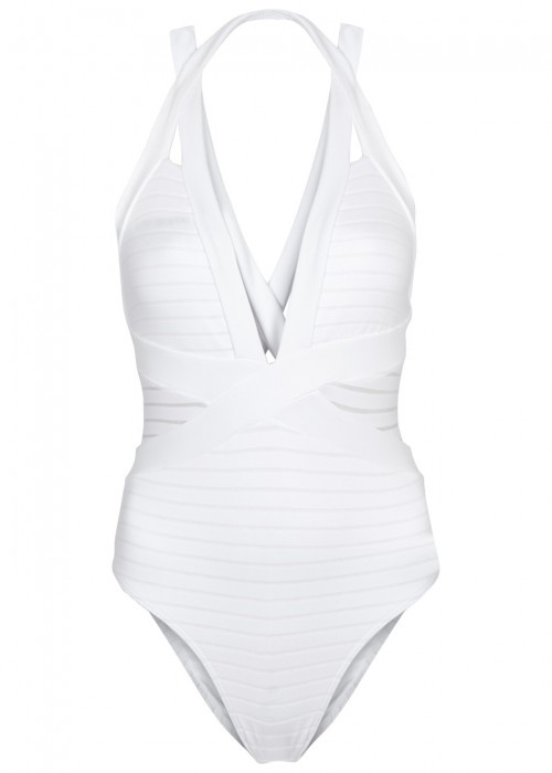 JETS BY JESSIKA ALLEN WHITE HALTERNECK SWIMSUIT