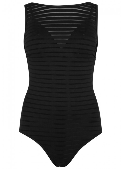 JETS BY JESSIKA ALLEN PARALLELS BLACK STRIPED SWIMSUIT