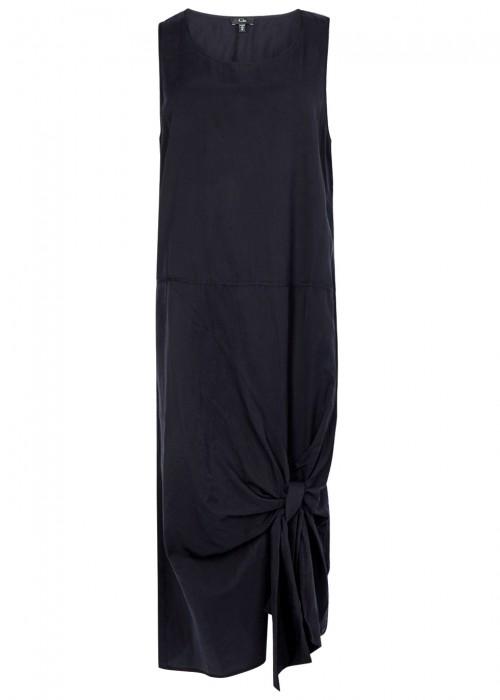 Clu NAVY BRUSHED SILK BLEND DRESS