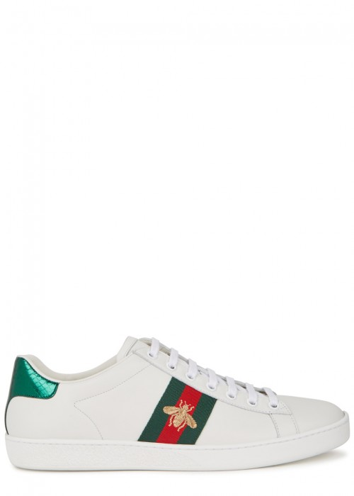 Ace Watersnake-Trimmed Embroidered Leather Sneakers in White