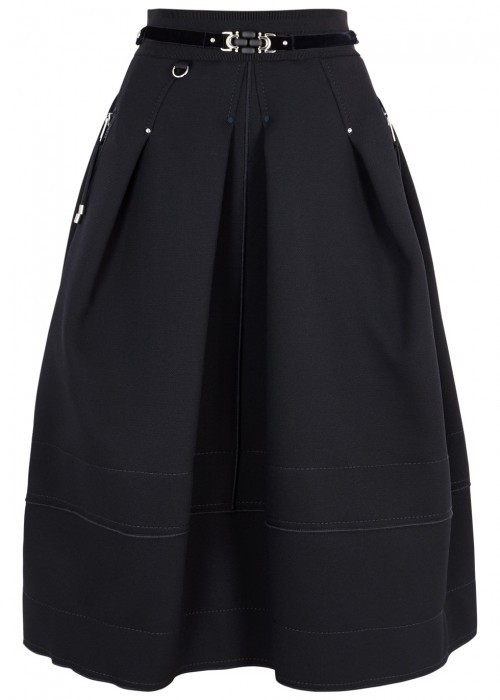 High DUET MIDNIGHT BLUE PLEATED TWILL SKIRT
