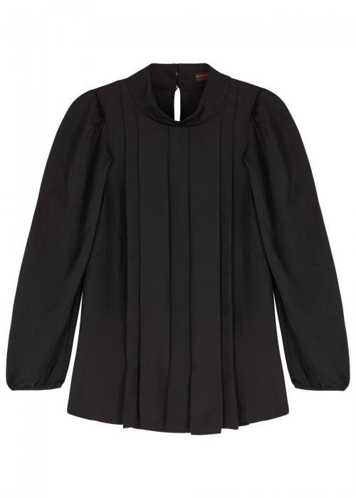 High ETUDE BLACK PLEATED BLOUSE