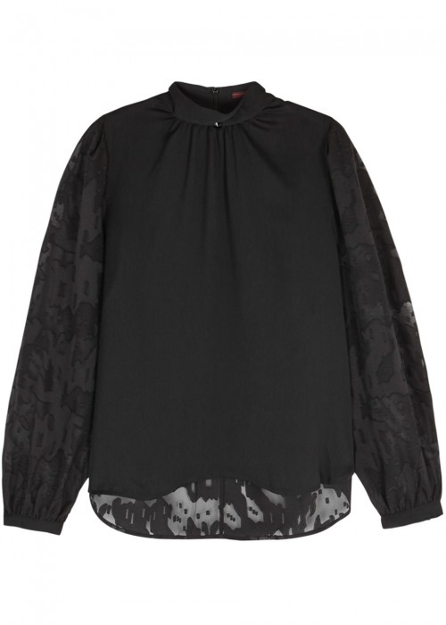High CELESTE FIL COUPÉ AND SATIN CREPE BLOUSE
