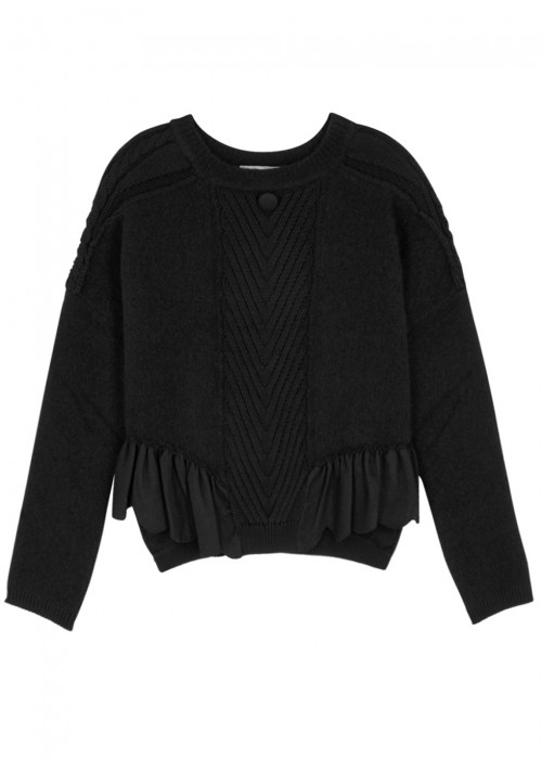 High BRONTE BLACK PANELLED JUMPER