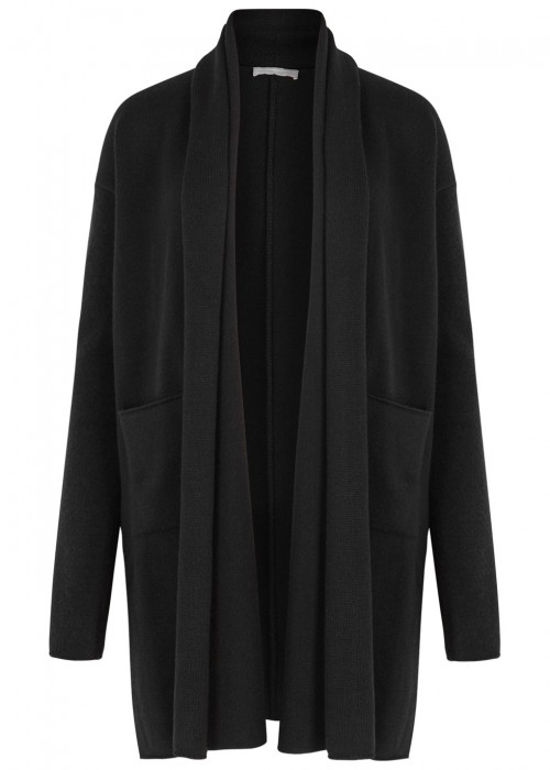 High SUAVE BLACK WOOL BLEND CARDIGAN