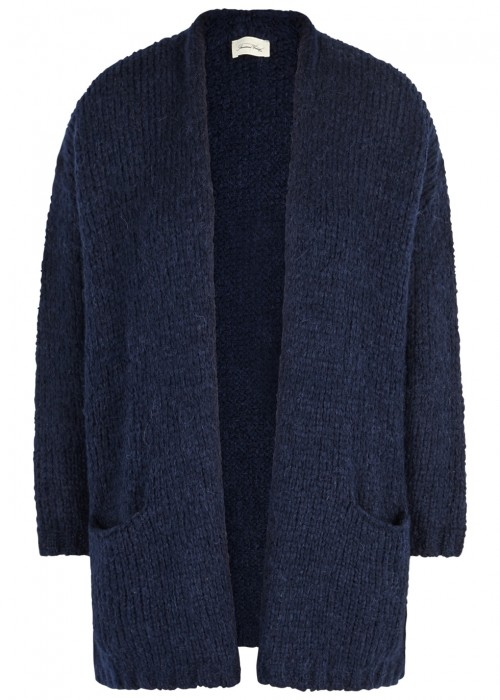 American Vintage BOOLDER NAVY CHUNKY-KNIT CARDIGAN