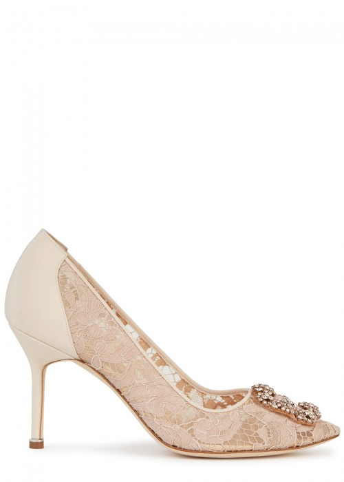 Manolo Blahnik  HANGISI 90 SATIN AND LACE PUMPS