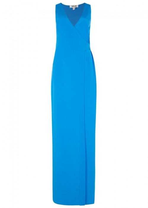 WOMAN WRAP-EFFECT SILK-SATIN GOWN TURQUOISE