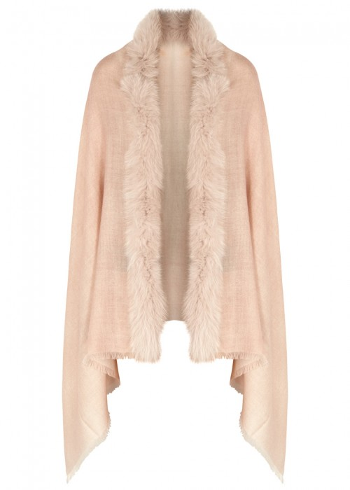 AMA PURE Pale Pink Fur-Trimmed Wool Scarf