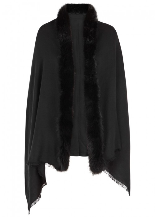 AMA PURE Black Fur-Trimmed Wool Scarf
