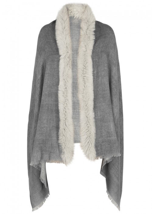 AMA PURE Grey Fur-Trimmed Wool Scarf in Dark Grey