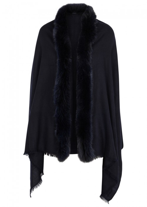 AMA PURE Midnight Blue Fur-Trimmed Wool Scarf in Navy