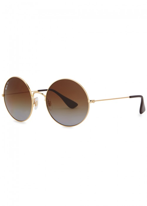 Ja-Jo Round-Frame Polarised Sunglasses in Gold