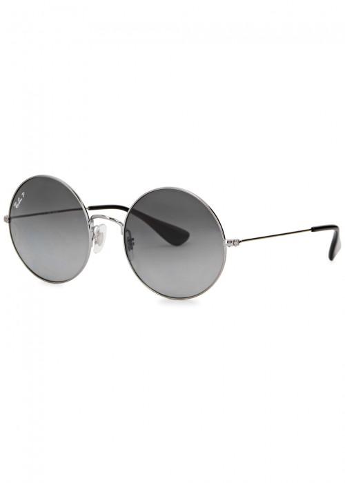 Ja-Jo Round-Frame Polarised Sunglasses in Gunmetal