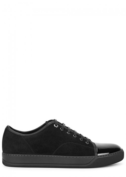 Lanvin  BLACK SUEDE AND LEATHER TRAINERS