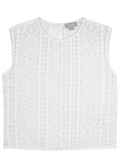 Finders Keepers BOSNIA WHITE GUIPURE LACE TOP