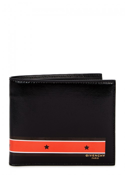 BLACK STRIPED LEATHER WALLET