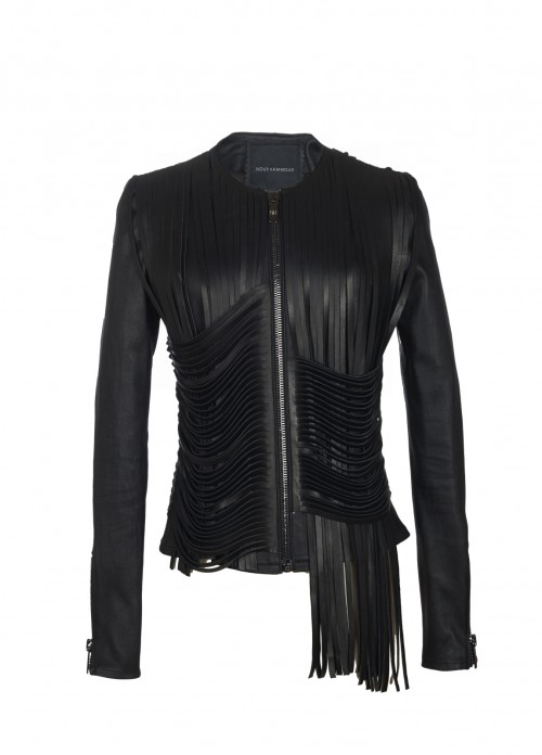 NOUR HAMMOUR FRINGED ZIP-FRONT LEATHER JACKET