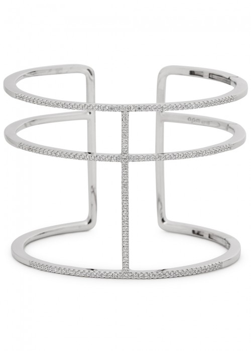 Apm Monaco CRYSTAL-EMBELLISHED STERLING SILVER TRIPLE BAND CUFF
