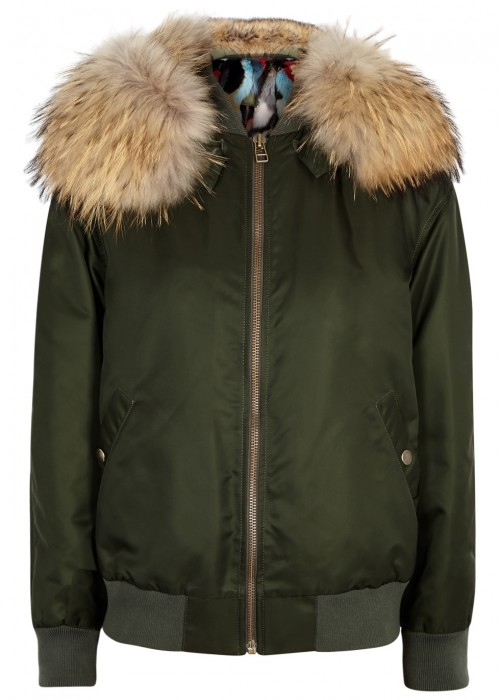 ARMY GREEN FUR-LINED BOMBER JACKET