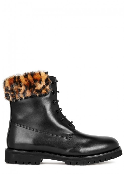 Mr & Mrs Italy  BLACK LEATHER ANKLE BOOTS