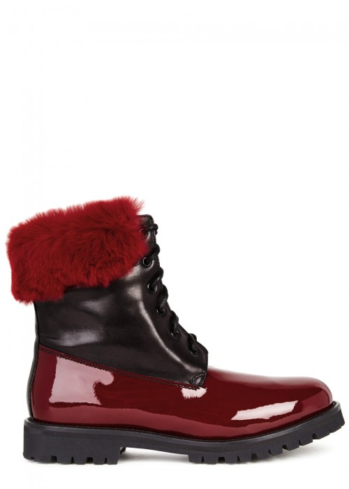 Mr & Mrs Italy  FUR-EMBELLISHED LEATHER ANKLE BOOTS