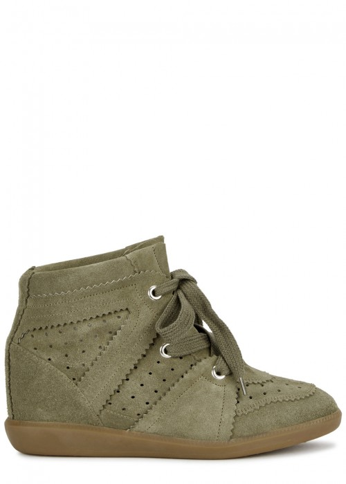 Bobby Olive Suede Wedge Trainers in Taupe