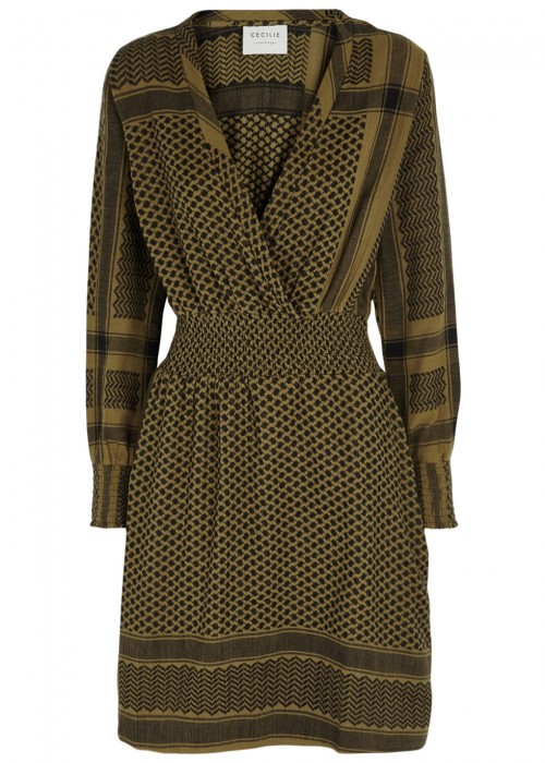 Cecilie Copenhagen CECILIE COPENHAGEN ZOETIC OLIVE COTTON JACQUARD DRESS