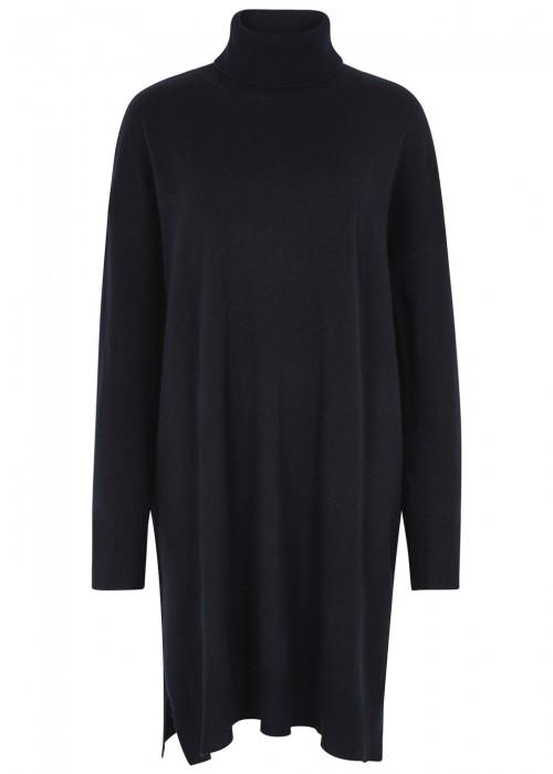 Demylee NAVY ROLL-NECK WOOL BLEND JUMPER DRESS