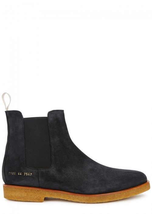 Common Projects Anthracite Suede Chelsea Boots Black