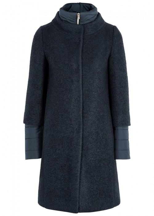 NAVY BOUCLÈ AND QUILTED SHELL COAT