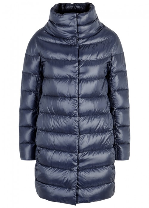 DARK BLUE QUILTED SHELL COAT
