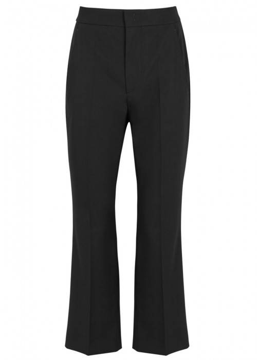 Nyree Cropped Cotton-Blend Flared Pants, Black