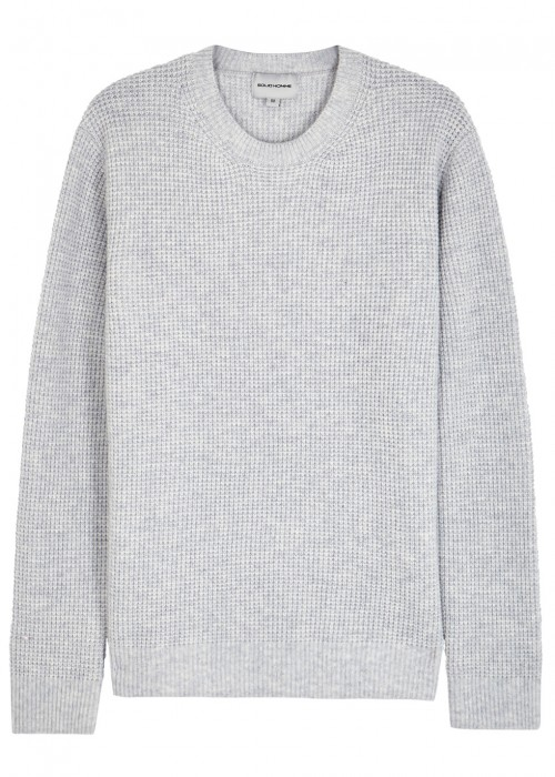 SOLID HOMME GREY WAFFLE-KNIT WOOL BLEND JUMPER